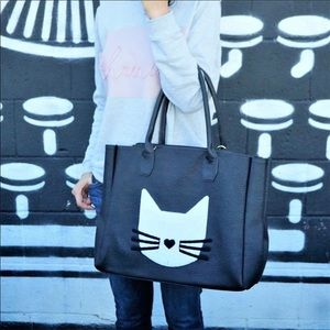 Vegan leather cat themed tote